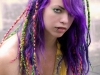 purple haired model closeup