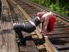 hot girl on train tracks